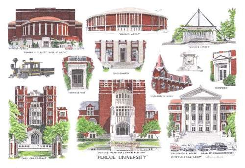 Purdue University - West Lafayette, Indiana - Hand Colored