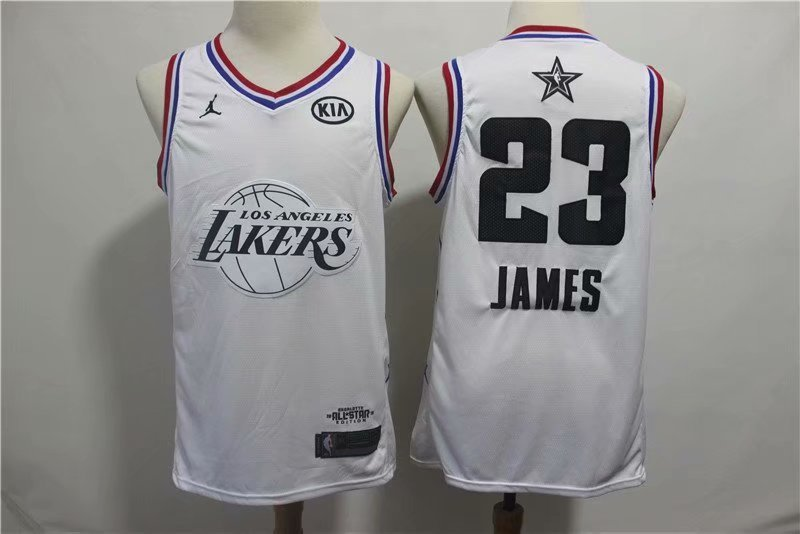 buy online b8b37 cf23a Men's Los Angeles Lakers #23 LeBron James White 2019 All Star Basketball  Jersey