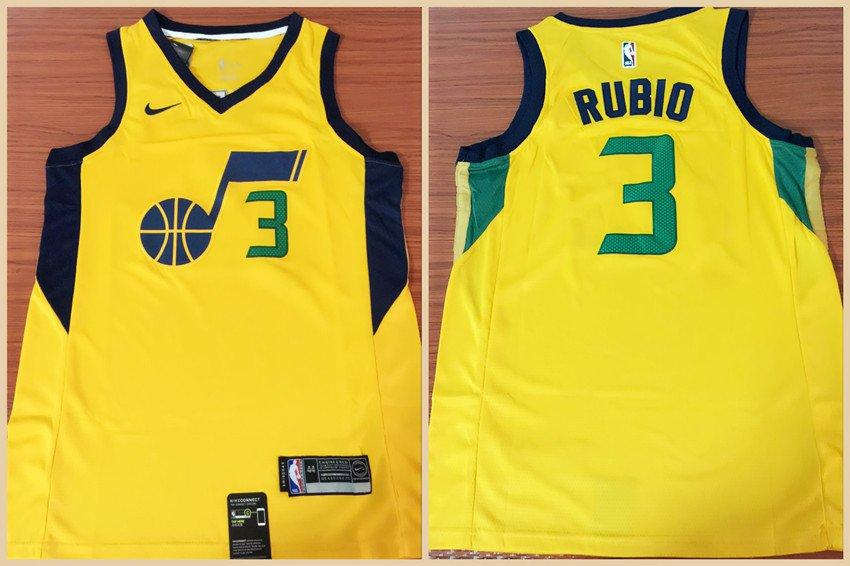 new style 3d63d bcb47 Men's Utah Jazz Ricky Rubio Yellow Basketball Jersey Stitched