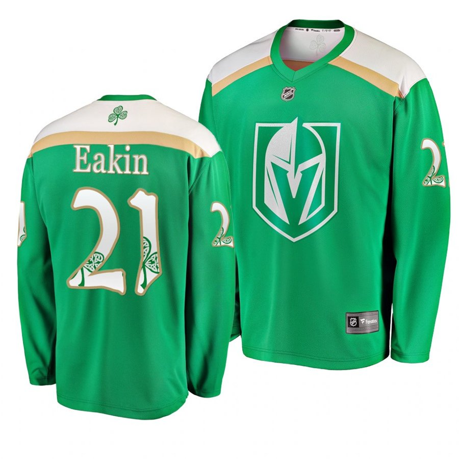 3535681e6 Golden Knights #21 Cody Eakin St. Patrick's Day Green Stitched Jersey