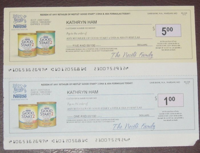 Nestle Good Start 2 Formula Checks $6 - Envelope of Coupons