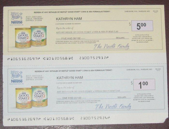 Nestle Good Start 2 Formula Checks $6 - Envelope of Coupons