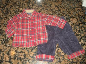 OSH KOSH Adorable 6 - 9 month boy's Christmas Outfit! L/S Tartan Plaid with Black Corduroy Pants set