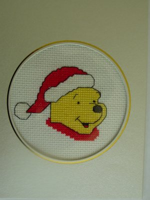 Finished cross stitch greeting card pooh