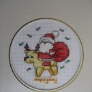 finished cross stitch card Santa