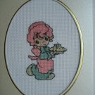Finished cross stitich card cute baby