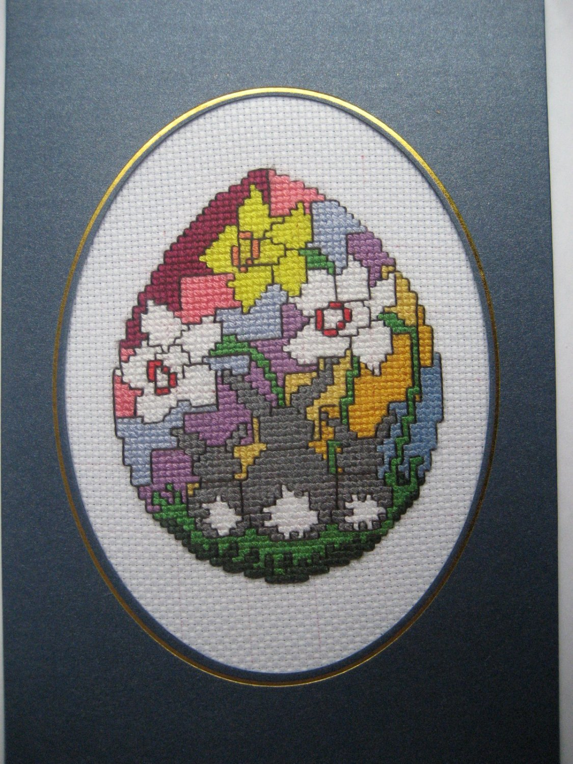 Finished cross stitich card Happy Easter