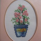 "Finished cross stitch card ""pretty flower"""