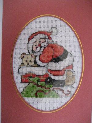 "Finished cross stitich card  ""Santa"""