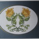"Finished cross stitich card ""Twin Yellow Rose"""