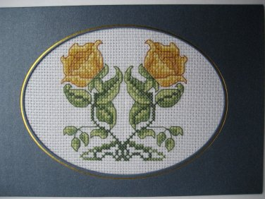 """Finished cross stitich card """"Twin Yellow Rose"""""""