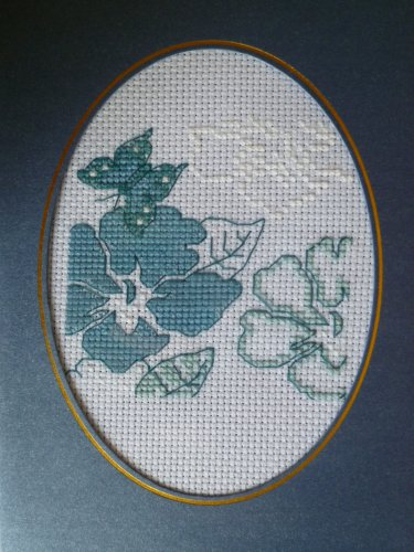 "Finished cross stitich card ""Pretty Blue Rose"""