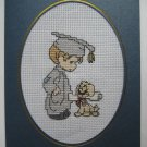 "Finished cross stitich card ""Graduation"""