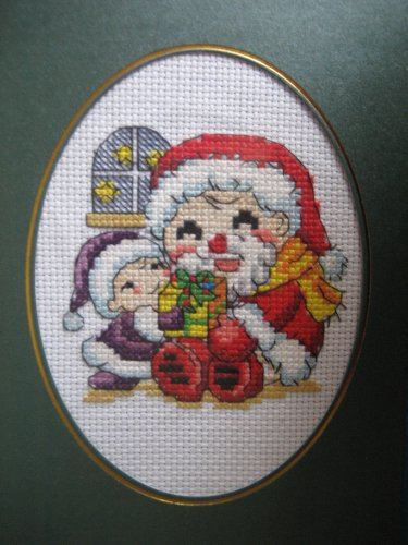"Finished cross stitich card ""Merry Christmas"""