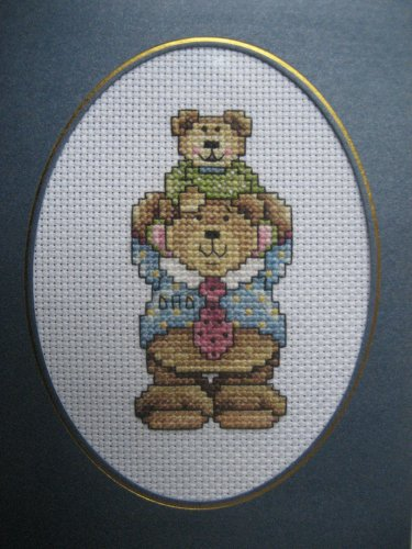 """Finished cross stitch card """"Happy Father's Day"""""""