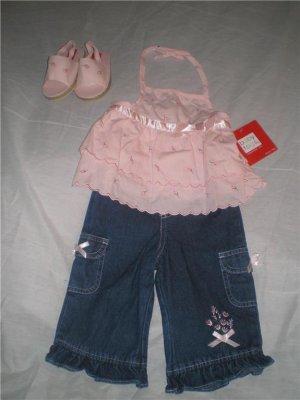 B.T. Kids Pink Top Rhumba Capri Set w/Sandals Size 12m