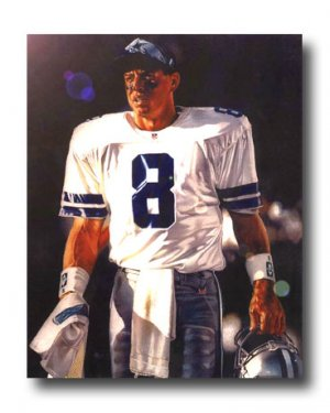 Troy Aikman Photo, #8 Dallas Cowboys Custom NFL canvas Print (NFL019)
