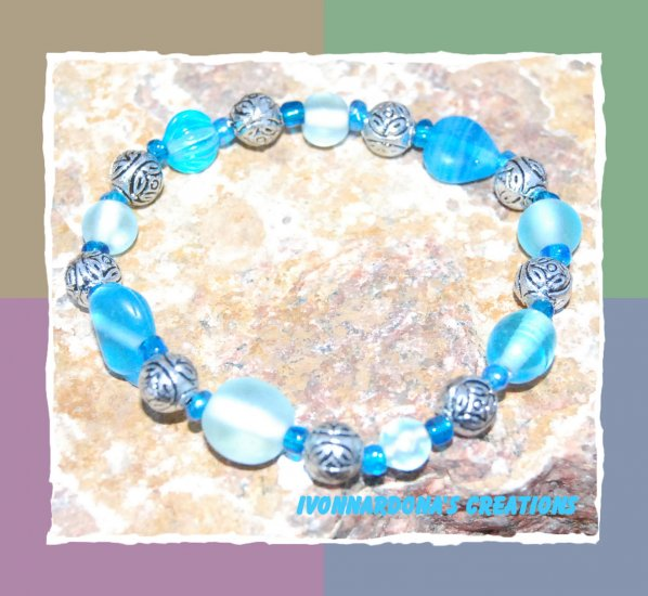 Turquoise and Silver Roses Bracelet