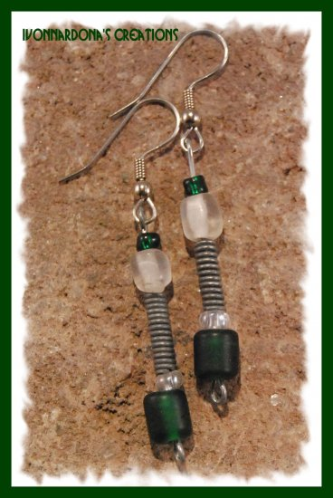 Twisted Metal and Green Earrings