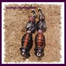 Purple Square and Barrel Earrings