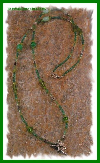 Silver Ballerina Fairy - Green Necklace