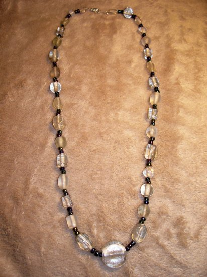 Clear and Iridescent Necklace-Earring Set
