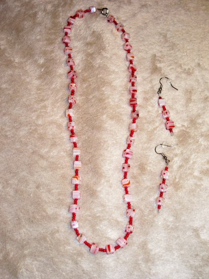 Red Block Necklace-Earring Set