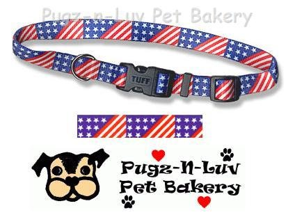 "Pet Attire Fashion Dog Collar Stars and Stripes 1"" Nylon"