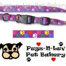 "Pet Attire Fashion Dog Collar Colored Paws 1"" Nylon"