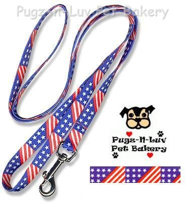 "Pet Attire Fashion Dog Lead/Leash Stars Stripes 5/8"" x 6' Nylon"