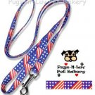"Pet Attire Fashion Dog Lead/Leash Stars Stripes 5/8"" x 6' Nylon"