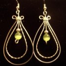 Double Loop Earrings with Peridot Cats eye Beads