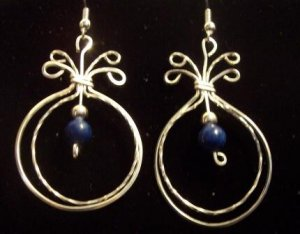 Double Loop Sterling Silver Earring with Blue Adventurine Beads