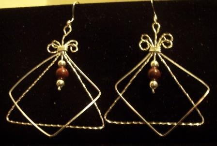 Gorgeous Sterling Silver Earrings with Poppy Jasper Beads