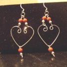Sterling Silver Heart Shaped/Red Jasper Earrings