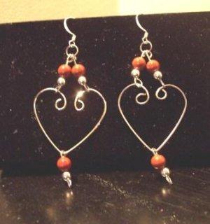 Sterling Silver Heart Shaped/Red Jasper Earrings