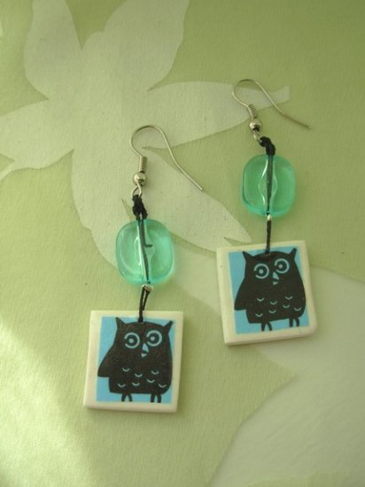 Icy Blue What A Hoot Owl earrrings