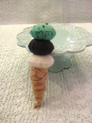 3 Scoop Ice Cream Cone Chocolate,vanilla, and Mint Chip--Childrens Playtime Dessert