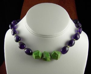 Bold amethyst, faceted peridot rondells and apple green turquoise necklace