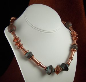 Trendy Bohemian style Necklace. Copper clad and bronzy beads.PegM