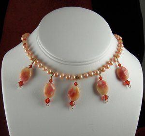 Creamsicle orange fresh water pearl necklace with candy jade drops