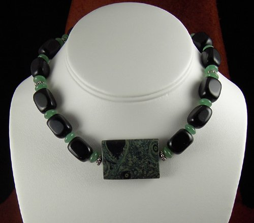 Black onyx and Kambaba Jasper necklace. PegM
