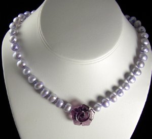 Plump Lavender  pearl necklace with a glass rose focal. PegM