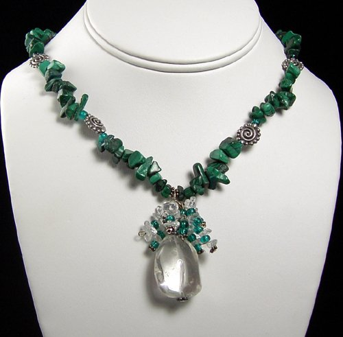 MALACHITE CHIPS, PEWTER BEADS CRYSTAL QUARTZ PENDANT NECKLACE