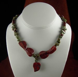 UNAKITE  CHIPS, POPPY JASPER RONDELLED, POPPY JASPER CARVED LEAVES NECKLACE