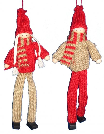 YARN BOY & GIRL HANGER FOR X'MAS