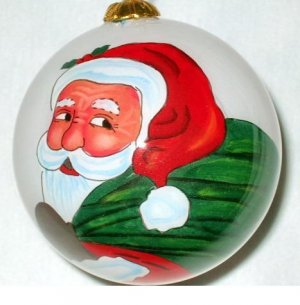 Santa clause w/gift bag,X'mas inner-painted glass ball