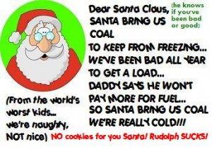 ACEO Art Card SANTA, BRING US COAL! funny humor Christmas Xmas holiday digital cards