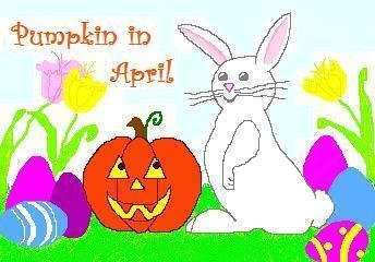 ACEO Art Card PUMPKIN IN APRIL Series Halloween jack o' lantern Easter Bunny rabbit digital cards