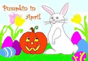 ACEO Art Card PUMPKIN IN APRIL Series Halloween jack o' lantern Easter Bunny rabbit digital cards